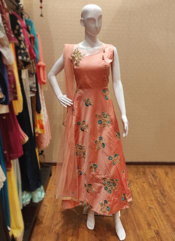 Peach Silk Festival Wear Hand Work Gown