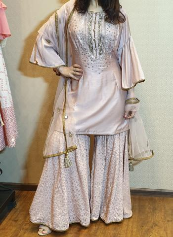 Peach Silk Festival Wear Mirror Work With Chikankari Sharara Suit