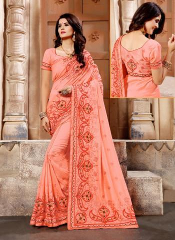 Peach Silk Festival Wear Resham Work Saree
