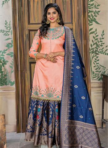 Peach Silk Wedding Wear Embroidery Work Sharara Suit