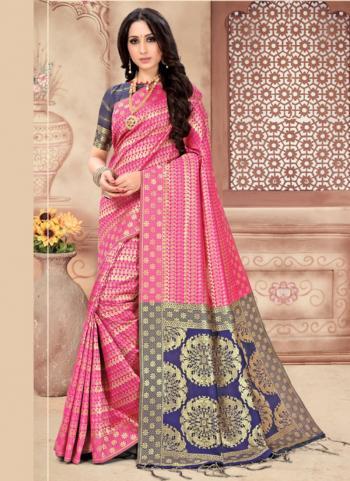 Pink Art Silk Party Wear Weaving Saree
