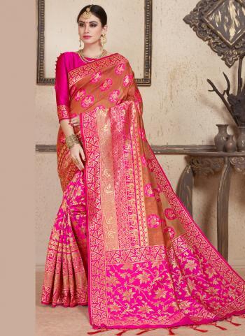 Pink Art Silk Wedding Wear Weaving Saree