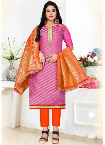 Pink Banarasi Jacquard Daily Wear Weaving Churidar Suit