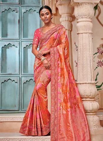 Pink Banarasi Jacquard Reception Wear Border Work Saree