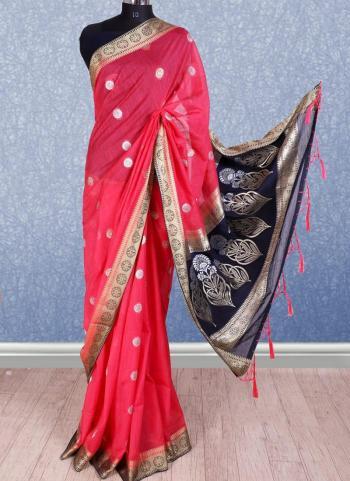 Pink And Blue Banarasi Silk Festival Wear Border Work Saree
