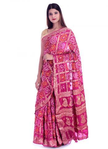 Pink Banarasi Silk Party Wear Printed Work Saree
