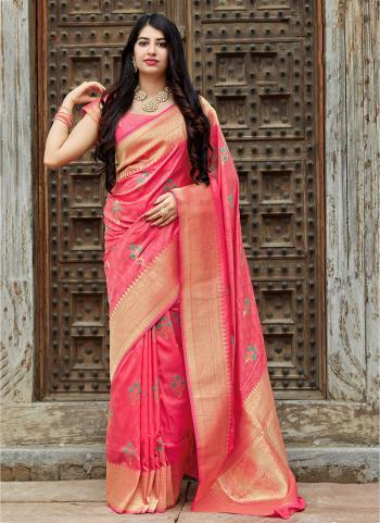 Pretty Wedding Wear Pink Banarasi Silk Weaving Saree
