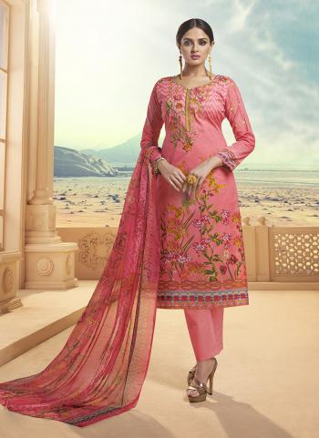 Pink Cambric Cotton Regular Wear Embroidery Work Churidar Style