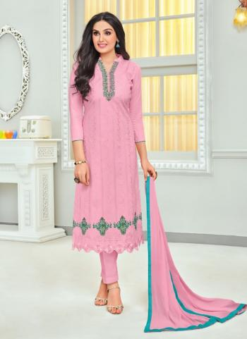 Pink Cambric Daily Wear Embroidery Work Churidar Style