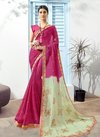 Pink Chiffon Regular Wear Printed Work Saree