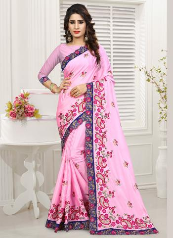 Pink Chinnon Party Wear Embroidery Work Saree