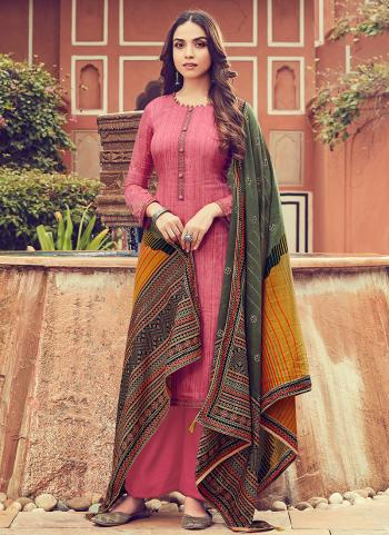 Pink Cotton Casual Wear Embroidery Work Palazzo Suit