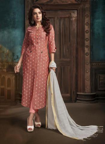 Pink Cotton Casual Wear Weaving Kurti With Dupatta