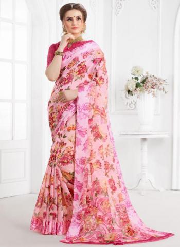 Pink Cotton Daily Wear Printed Work Saree