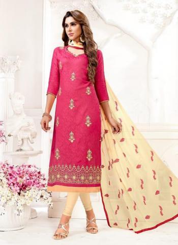 Pink Cotton Jacquard Office Wear Embroidery Work Churidar Style
