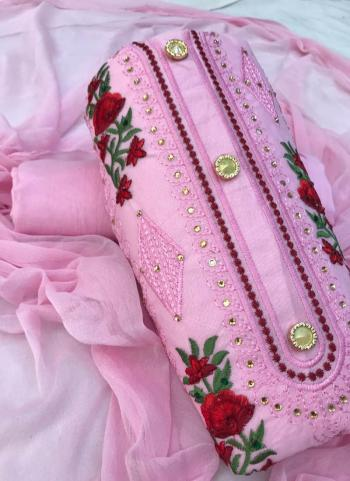 Pink Cotton Office Wear Embroidery Work Salwar Suit