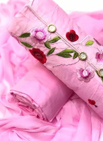 Pink Cotton Regular Wear Embroidery Work Salwar Suit