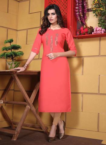 Pink Cotton Regular Wear Hand Work Kurti