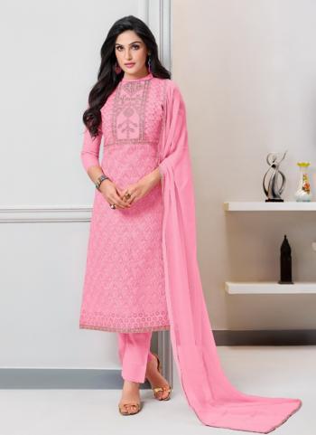 Pink Cotton Regular Wear Heavy Embroidery Work Churidar Style