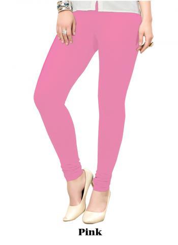 Pink Cotton Regular Wear Plain Leggins