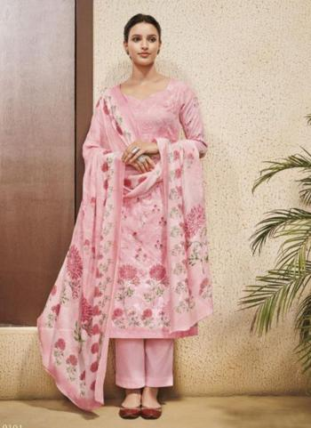 Pink Cotton Satin Casual Wear Embroidery Work Palazzo Suit