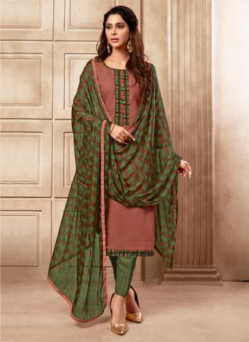 Pink Cotton Slub Daily Wear Embroidery Work Churidar Suit