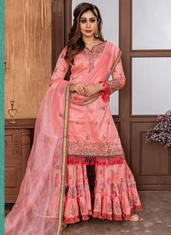 Pink Fancy Wedding Wear Embroidery Work Sharara Suit