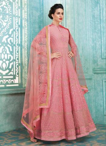 Pink Faux Georgette Wedding Wear Embroidery Work Anarkali Suit