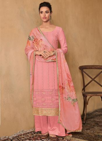 Pink Georgette Diwali Wear Embroidery Work Palazzo Suit