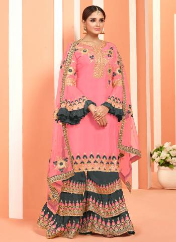 Pink Georgette Festival Wear Embroidery Work Sharara Suit