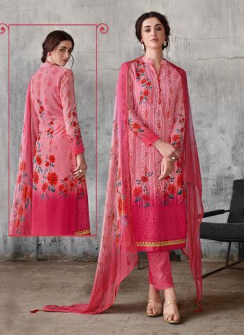 Unique Festival Wear Pink Georgette Print Lakhnavi Work Churidar Suit