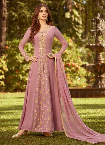 Pink Georgette Party Wear Embroidery Work Anarkali Suit