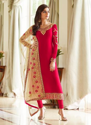 Pink Georgette Party Wear Embroidery Work Churidar Suit