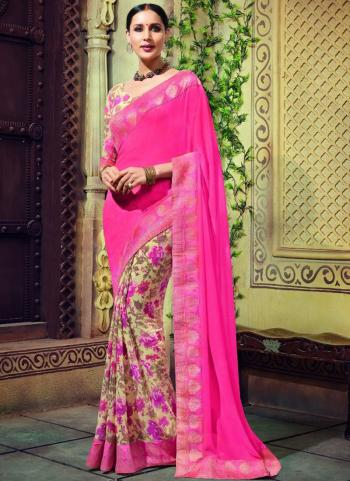 Pink Georgette Party Wear Lace Border Work Saree