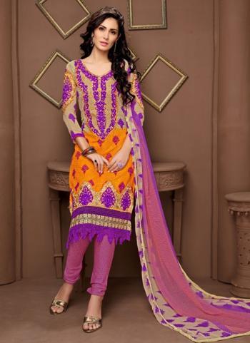 Buy Regular Wear Pink Georgette Embroidery Work Churidar Style