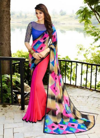 Imported Pink Georgette Regular Wear Printed Work Saree