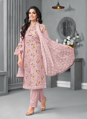 Pink Georgette Satin Casual Wear Printed Work Salwar Suit