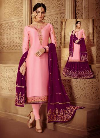 Pink Georgette Satin Party Wear Embroidery Work Churidar Suit