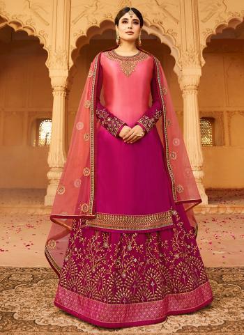 Pink Georgette Wedding Wear Embroidery Work Lehenga Suit