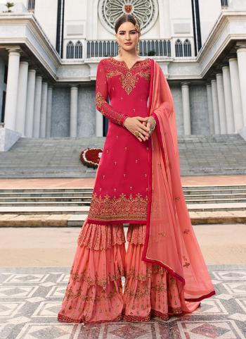 Pink Georgette Wedding Wear Embroidery Work Sharara Suit