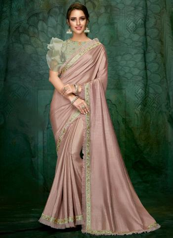 Pink Georgette Wedding Wear Hand Work Saree