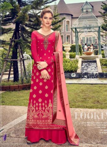 Pink Jacqaurd Festival Wear Hand Work Palazzo Suit