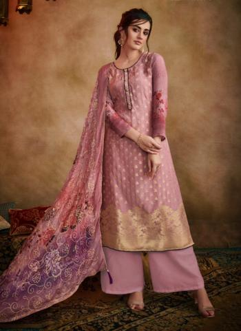 Jacqaurd Festival Wear Pink Printed Work Palazzo Suit