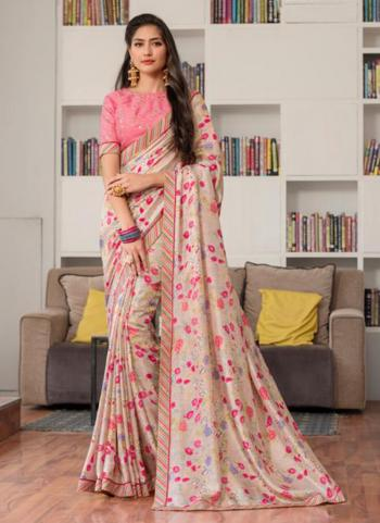 Pink Jacqaurd Silk Casual Wear Printed Work Saree
