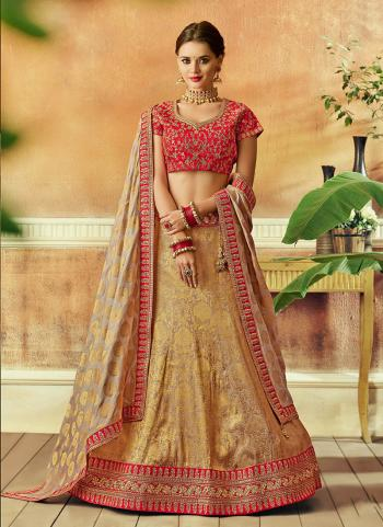 Pink Jacqaurd Wedding Wear Thread Work Lehenga Choli