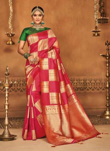 Pink Jacquard Silk Festival Wear Zari Work Saree
