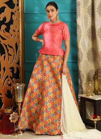 Pink Jacquard Silk Party Wear Sequins Work Lehenga Choli