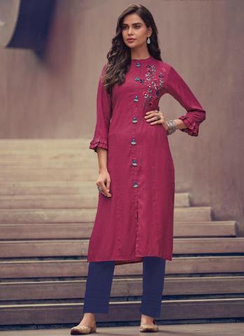 Pink Khadi Casual Wear Embroidery Work Kurti