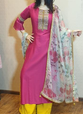 Pink Muslin Festival Wear Hand Work Palazzo Suit With Printed Organza Dupatta