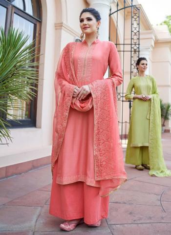 Pink Muslin Party Wear Embroidery Work Palazzo Suit